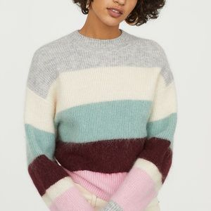 H&M knit wool blend color-block Striped sweater